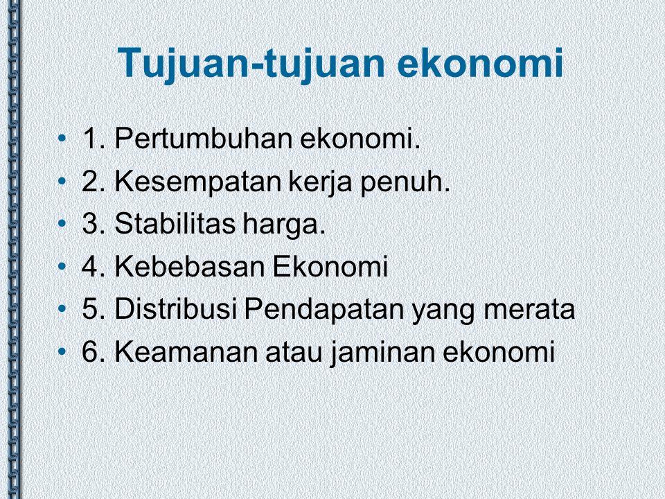 Tujuan-tujuan ekonomi 1. Pertumbuhan ekonomi. 2. Kesempatan kerja penuh. 3. Stabilitas harga. 4. Kebebasan Ekonomi 5. Distribusi Pendapatan yang merat