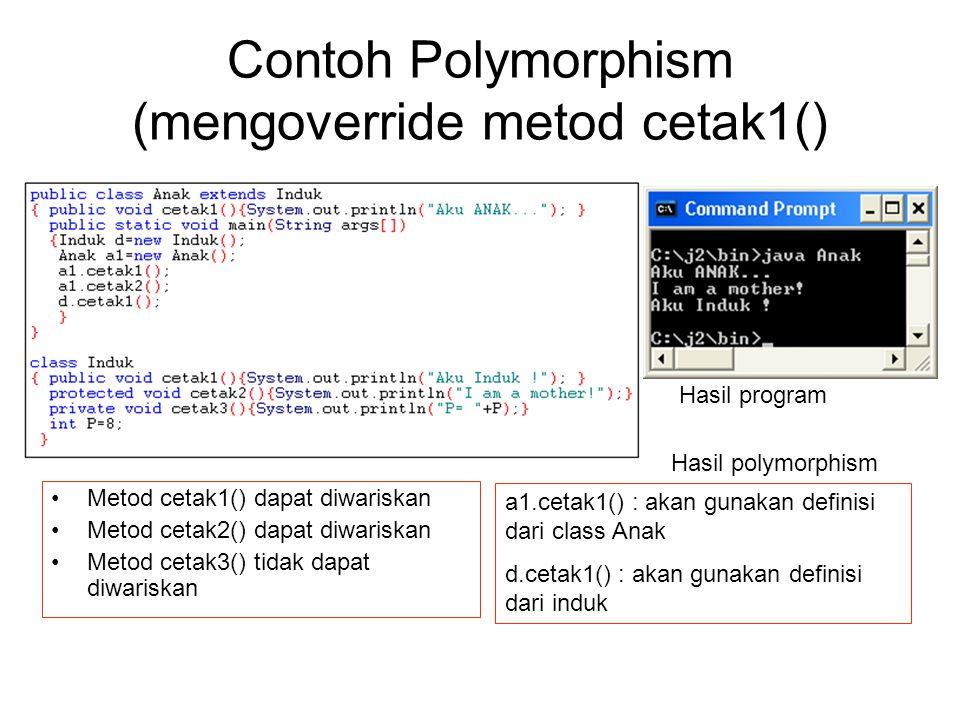 Contoh Polymorphism (mengoverride metod cetak1() Metod cetak1() dapat diwariskan Metod cetak2() dapat diwariskan Metod cetak3() tidak dapat diwariskan