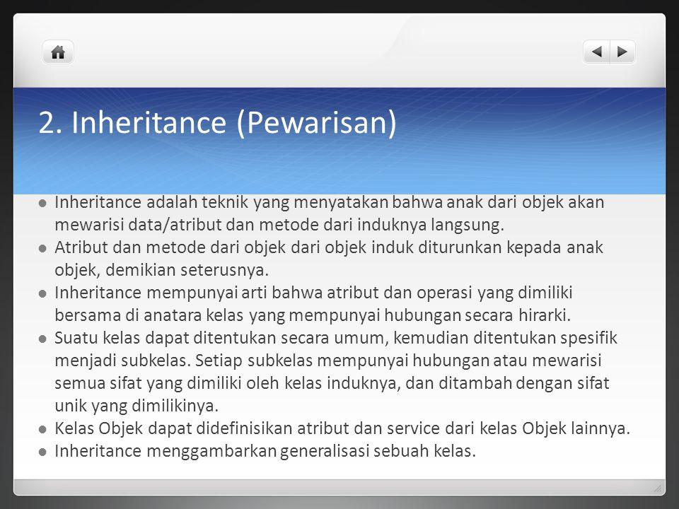 2. Inheritance (Pewarisan) Inheritance adalah teknik yang menyatakan bahwa anak dari objek akan mewarisi data/atribut dan metode dari induknya langsun