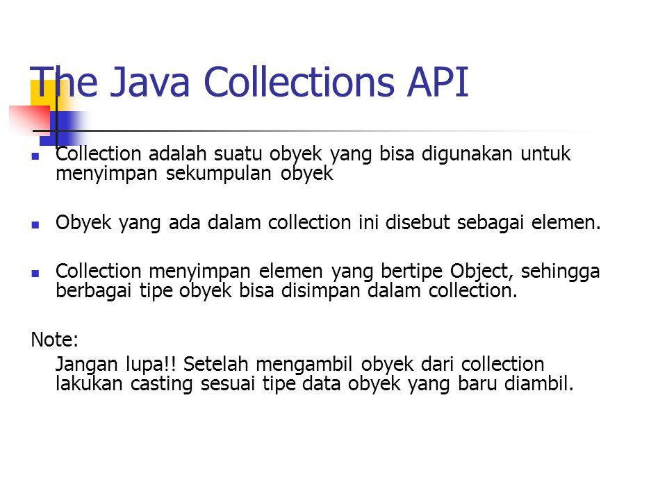 The Java Collections API Collection adalah suatu obyek yang bisa digunakan untuk menyimpan sekumpulan obyek Obyek yang ada dalam collection ini disebu