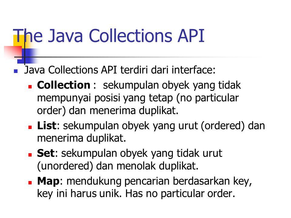 The Java Collections API Java Collections API terdiri dari interface: Collection : sekumpulan obyek yang tidak mempunyai posisi yang tetap (no particu