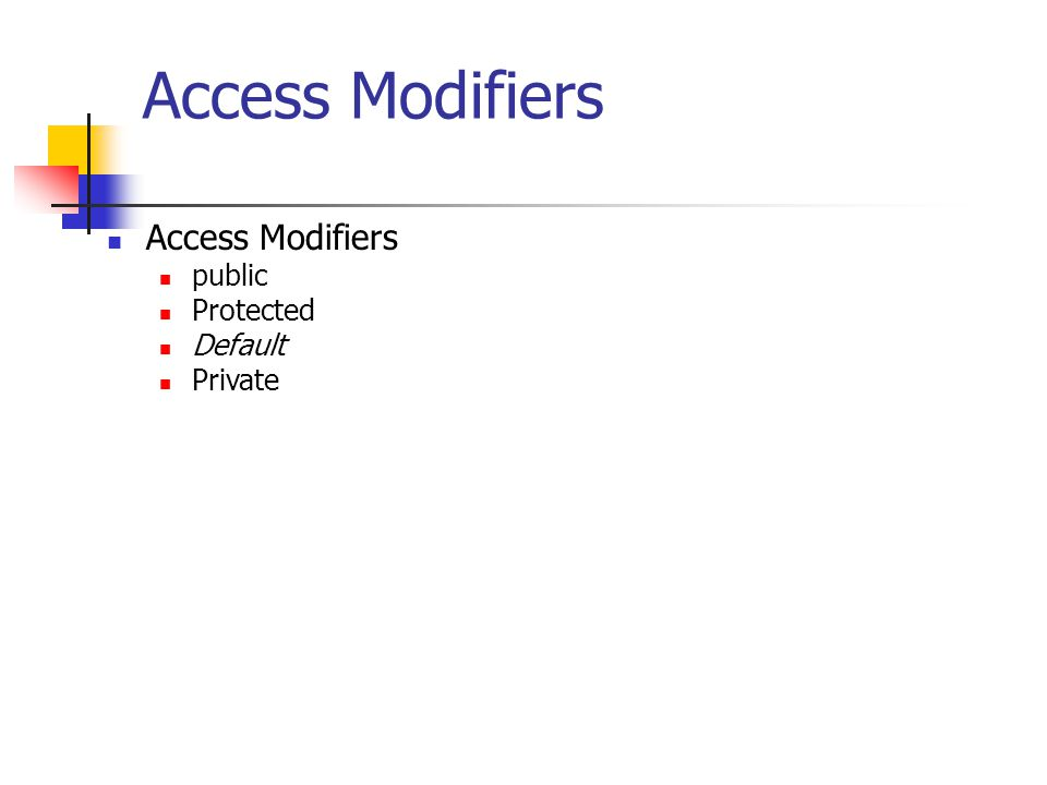 Access Modifiers public Protected Default Private
