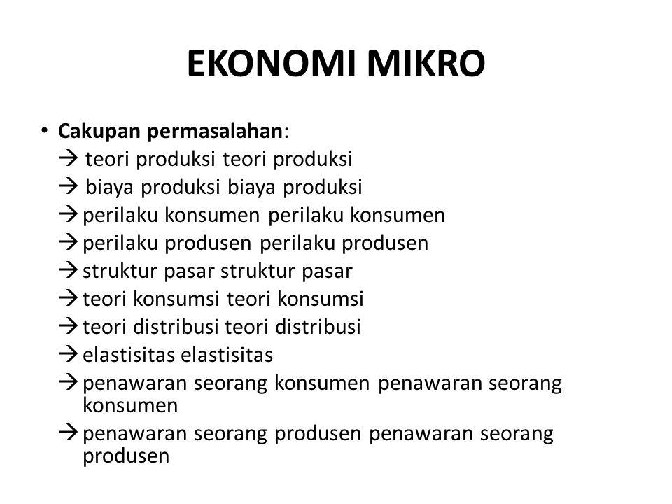 EKONOMI MIKRO Cakupan permasalahan:  teori produksi teori produksi  biaya produksi biaya produksi  perilaku konsumen perilaku konsumen  perilaku p
