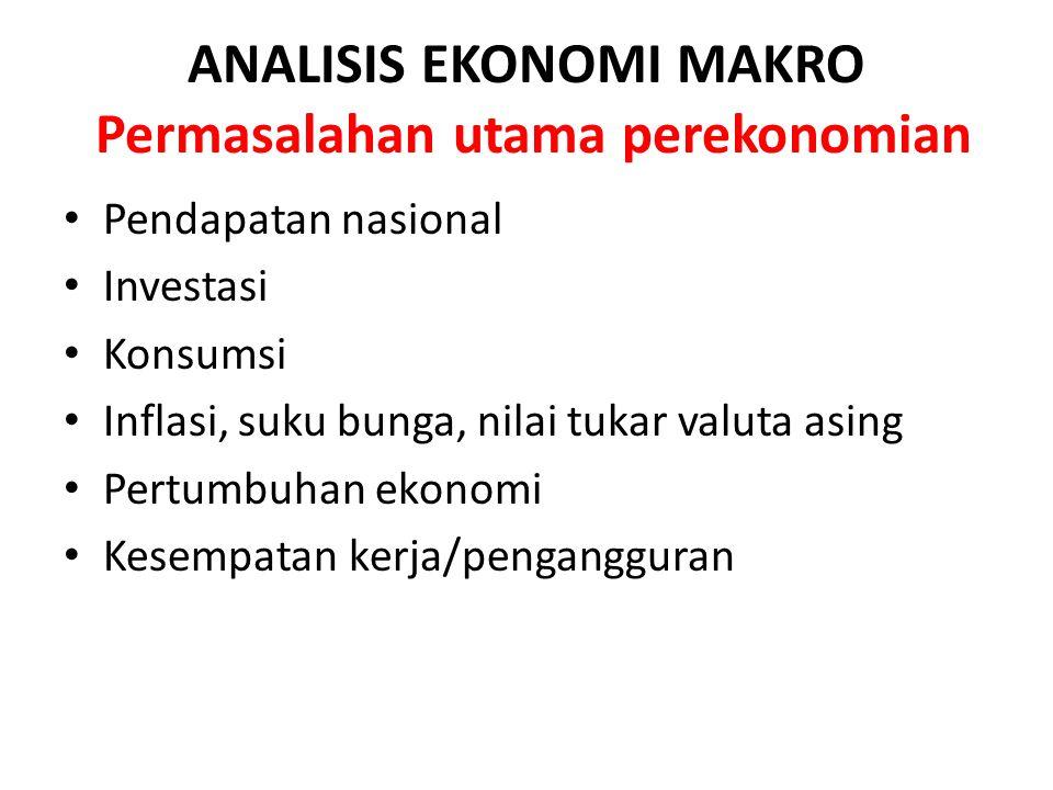 ANALISIS EKONOMI MAKRO Permasalahan utama perekonomian Pendapatan nasional Investasi Konsumsi Inflasi, suku bunga, nilai tukar valuta asing Pertumbuha