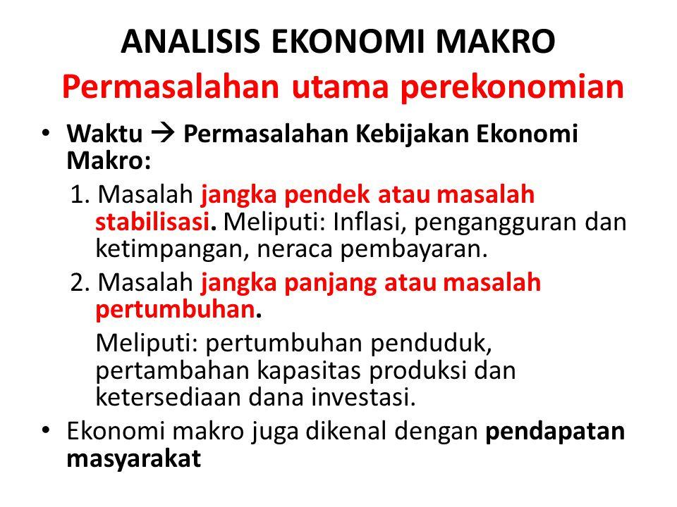 ANALISIS EKONOMI MAKRO Permasalahan utama perekonomian Waktu  Permasalahan Kebijakan Ekonomi Makro: 1. Masalah jangka pendek atau masalah stabilisasi