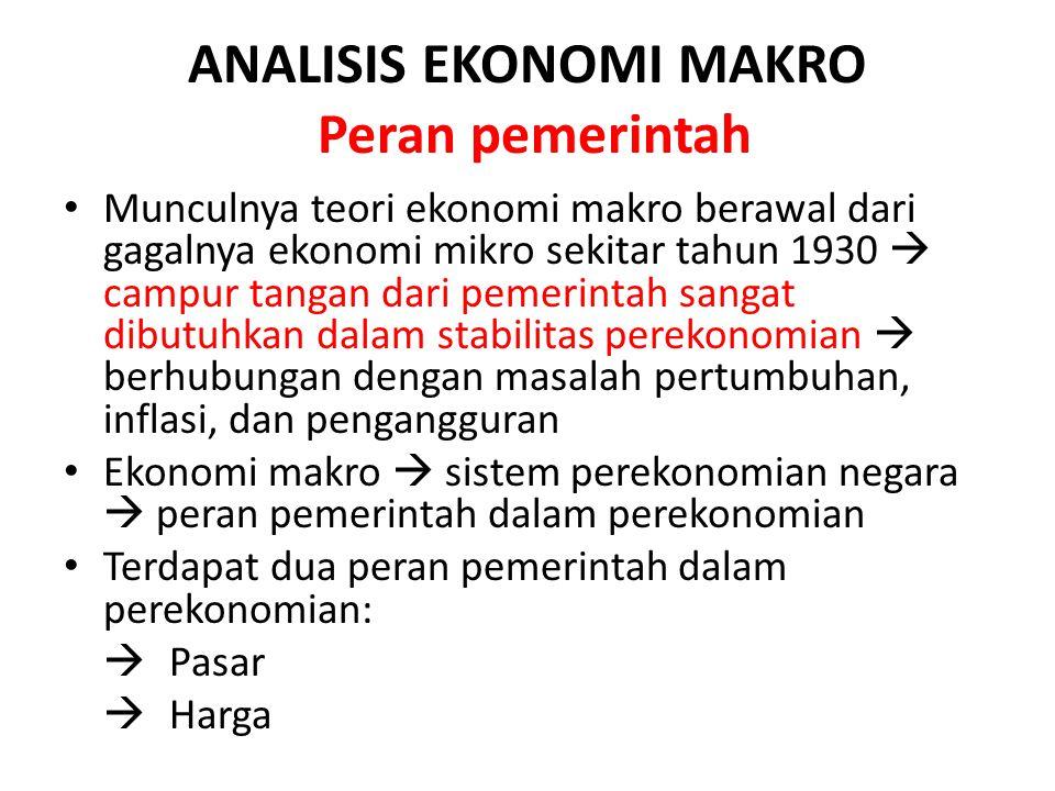 ANALISIS EKONOMI MAKRO Peran pemerintah Munculnya teori ekonomi makro berawal dari gagalnya ekonomi mikro sekitar tahun 1930  campur tangan dari peme