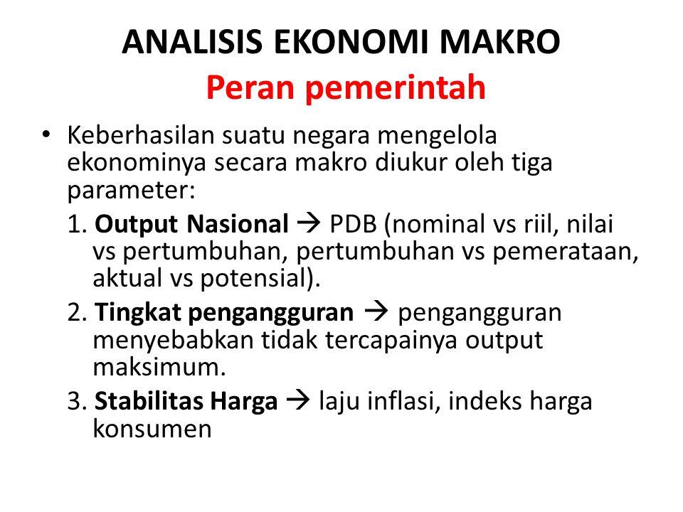 ANALISIS EKONOMI MAKRO Peran pemerintah Keberhasilan suatu negara mengelola ekonominya secara makro diukur oleh tiga parameter: 1. Output Nasional  P