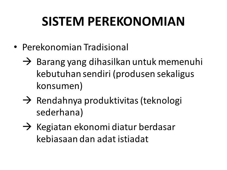SISTEM PEREKONOMIAN Perekonomian Tradisional  Barang yang dihasilkan untuk memenuhi kebutuhan sendiri (produsen sekaligus konsumen)  Rendahnya produ