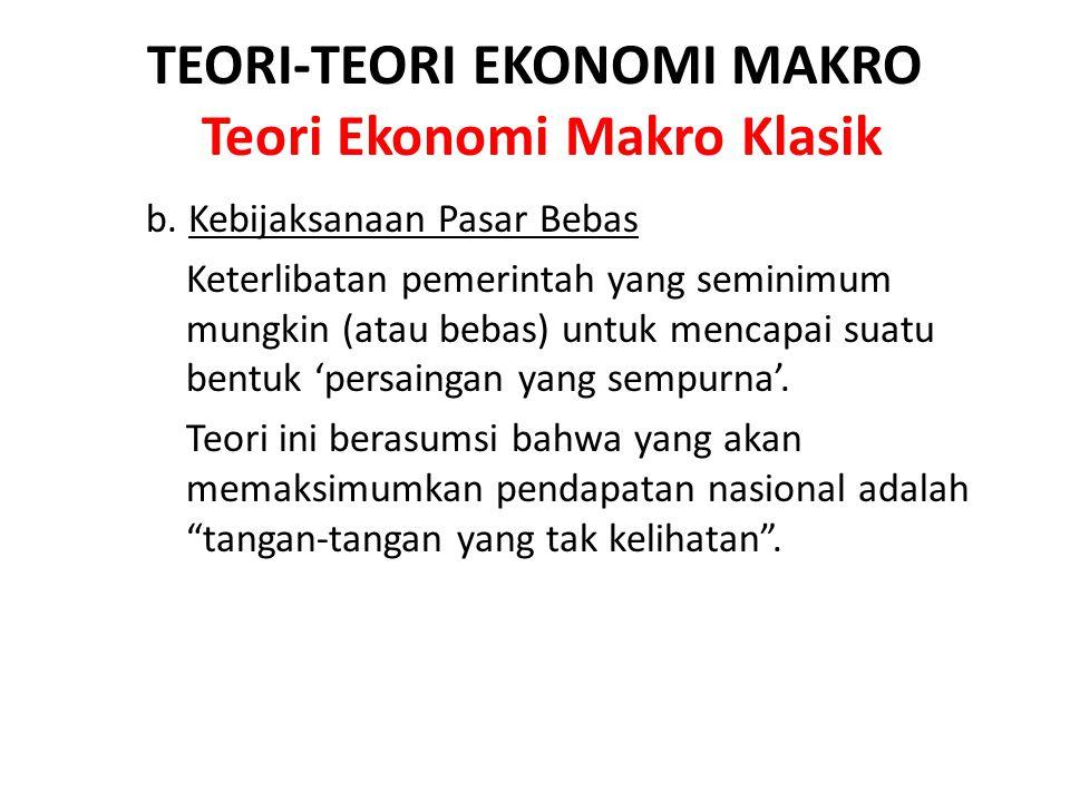 TEORI-TEORI EKONOMI MAKRO Teori Ekonomi Makro Klasik b. Kebijaksanaan Pasar Bebas Keterlibatan pemerintah yang seminimum mungkin (atau bebas) untuk me