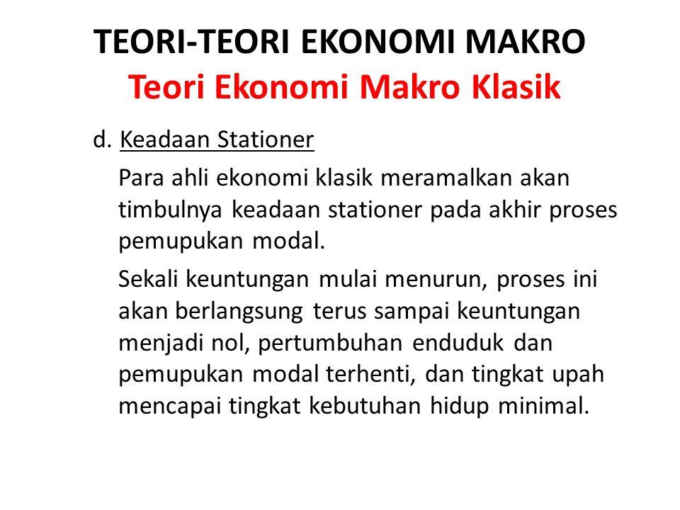 TEORI-TEORI EKONOMI MAKRO Teori Ekonomi Makro Klasik d. Keadaan Stationer Para ahli ekonomi klasik meramalkan akan timbulnya keadaan stationer pada ak