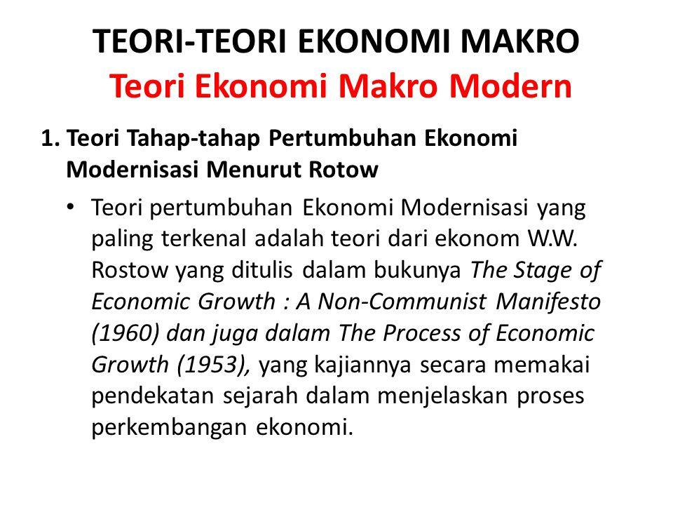 TEORI-TEORI EKONOMI MAKRO Teori Ekonomi Makro Modern 1. Teori Tahap-tahap Pertumbuhan Ekonomi Modernisasi Menurut Rotow Teori pertumbuhan Ekonomi Mode