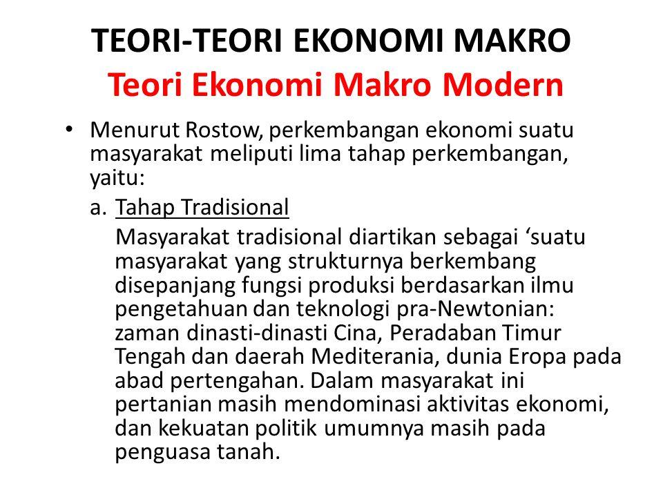 TEORI-TEORI EKONOMI MAKRO Teori Ekonomi Makro Modern Menurut Rostow, perkembangan ekonomi suatu masyarakat meliputi lima tahap perkembangan, yaitu: a.