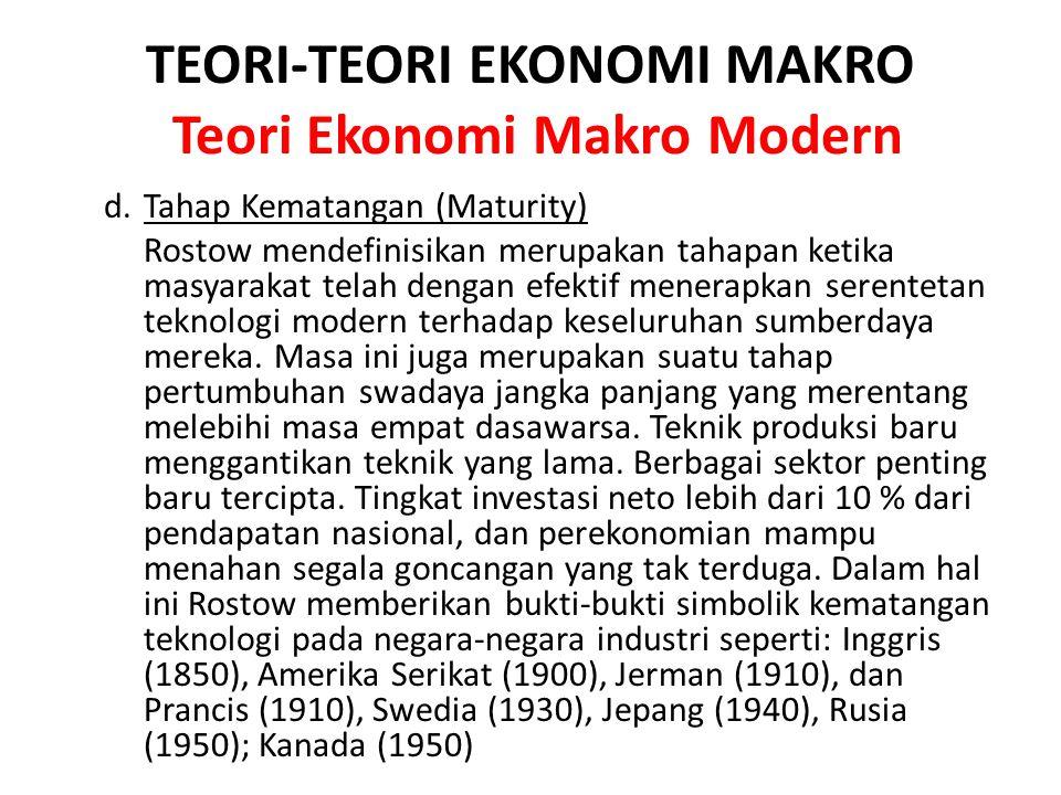TEORI-TEORI EKONOMI MAKRO Teori Ekonomi Makro Modern d. Tahap Kematangan (Maturity) Rostow mendefinisikan merupakan tahapan ketika masyarakat telah de