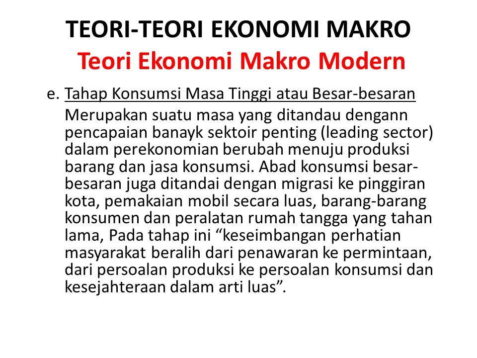 TEORI-TEORI EKONOMI MAKRO Teori Ekonomi Makro Modern e. Tahap Konsumsi Masa Tinggi atau Besar-besaran Merupakan suatu masa yang ditandau dengann penca