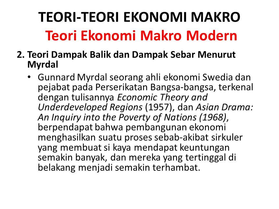 TEORI-TEORI EKONOMI MAKRO Teori Ekonomi Makro Modern 2. Teori Dampak Balik dan Dampak Sebar Menurut Myrdal Gunnard Myrdal seorang ahli ekonomi Swedia