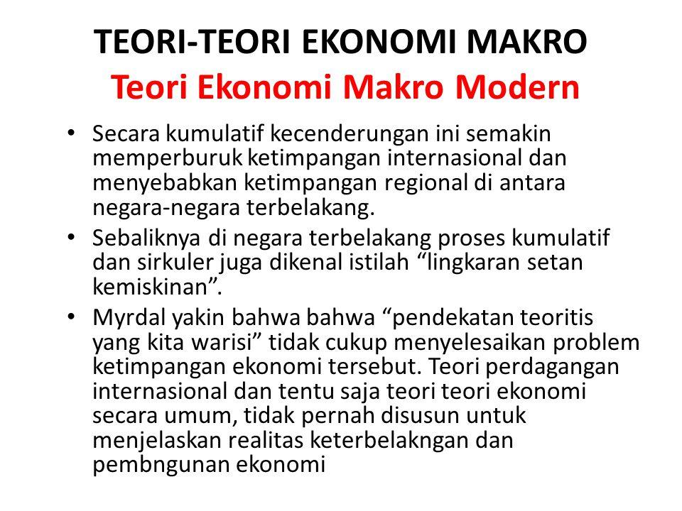 TEORI-TEORI EKONOMI MAKRO Teori Ekonomi Makro Modern Secara kumulatif kecenderungan ini semakin memperburuk ketimpangan internasional dan menyebabkan