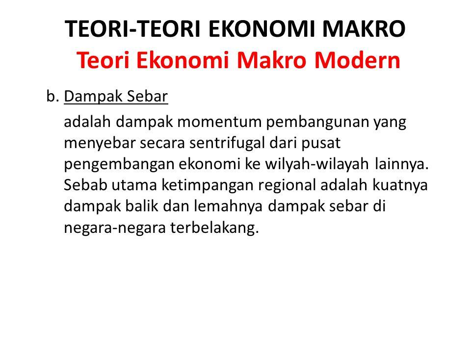 TEORI-TEORI EKONOMI MAKRO Teori Ekonomi Makro Modern b. Dampak Sebar adalah dampak momentum pembangunan yang menyebar secara sentrifugal dari pusat pe