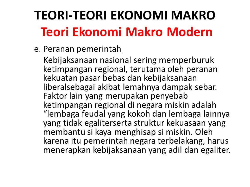 TEORI-TEORI EKONOMI MAKRO Teori Ekonomi Makro Modern e. Peranan pemerintah Kebijaksanaan nasional sering memperburuk ketimpangan regional, terutama ol
