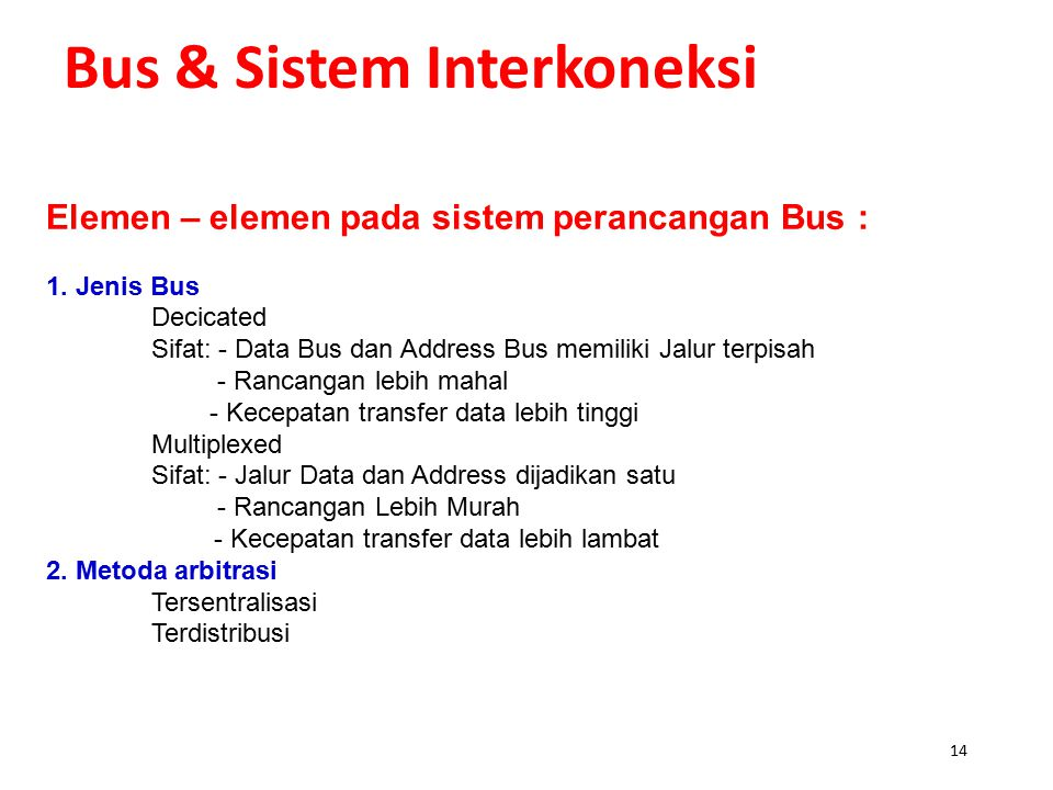 Bus & Sistem Interkoneksi Diagram High Speed Bus