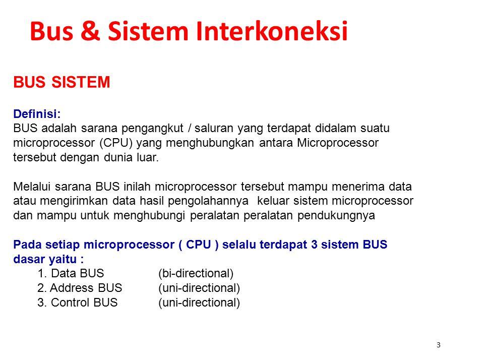 3 Bus & Sistem Interkoneksi BUS SISTEM Definisi: BUS adalah sarana pengangkut / saluran yang terdapat didalam suatu microprocessor (CPU) yang menghubungkan antara Microprocessor tersebut dengan dunia luar.