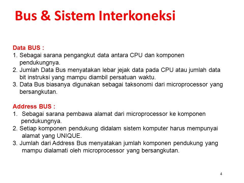 3 Bus & Sistem Interkoneksi BUS SISTEM Definisi: BUS adalah sarana pengangkut / saluran yang terdapat didalam suatu microprocessor (CPU) yang menghubu