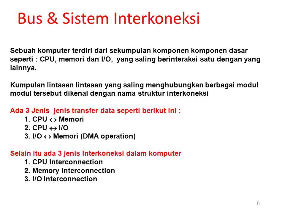 5 Bus & Sistem Interkoneksi Control BUS : Sebagai sarana pembawa signal kontrol antara microprocessor dan peralatan pendukung didalam kesinambungan ko