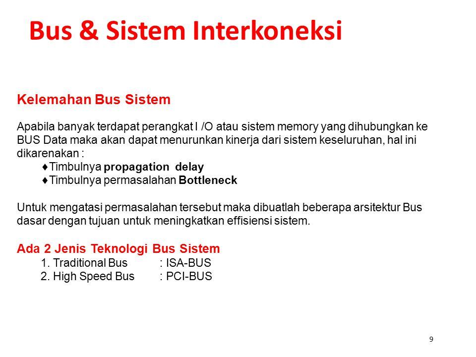 9 Bus & Sistem Interkoneksi Kelemahan Bus Sistem Apabila banyak terdapat perangkat I /O atau sistem memory yang dihubungkan ke BUS Data maka akan dapat menurunkan kinerja dari sistem keseluruhan, hal ini dikarenakan :  Timbulnya propagation delay  Timbulnya permasalahan Bottleneck Untuk mengatasi permasalahan tersebut maka dibuatlah beberapa arsitektur Bus dasar dengan tujuan untuk meningkatkan effisiensi sistem.
