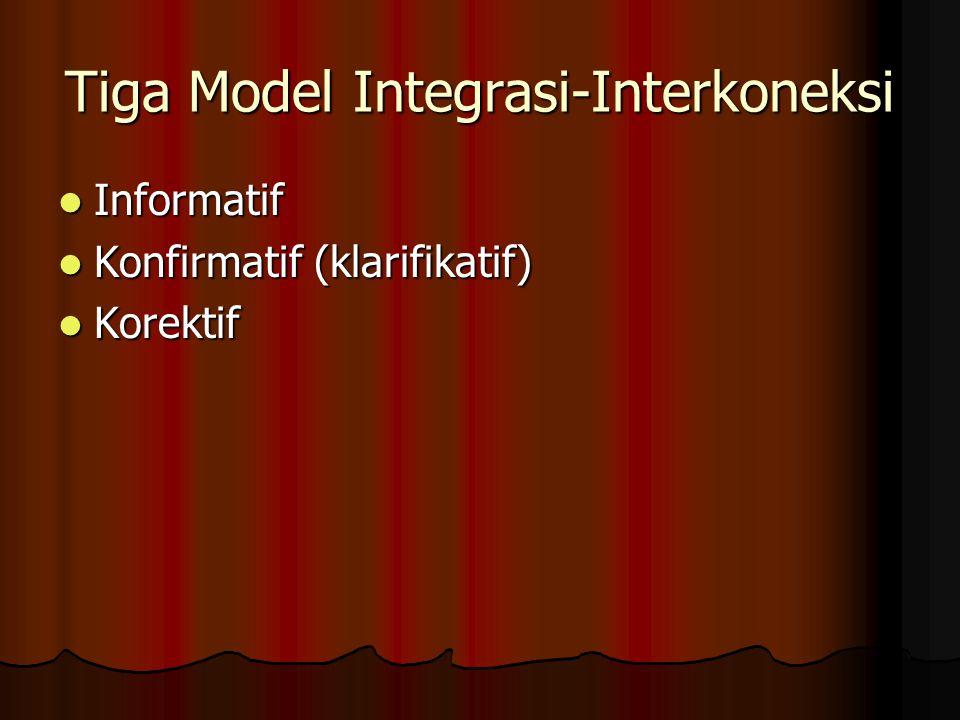 Tiga Model Integrasi-Interkoneksi Informatif Informatif Konfirmatif (klarifikatif) Konfirmatif (klarifikatif) Korektif Korektif