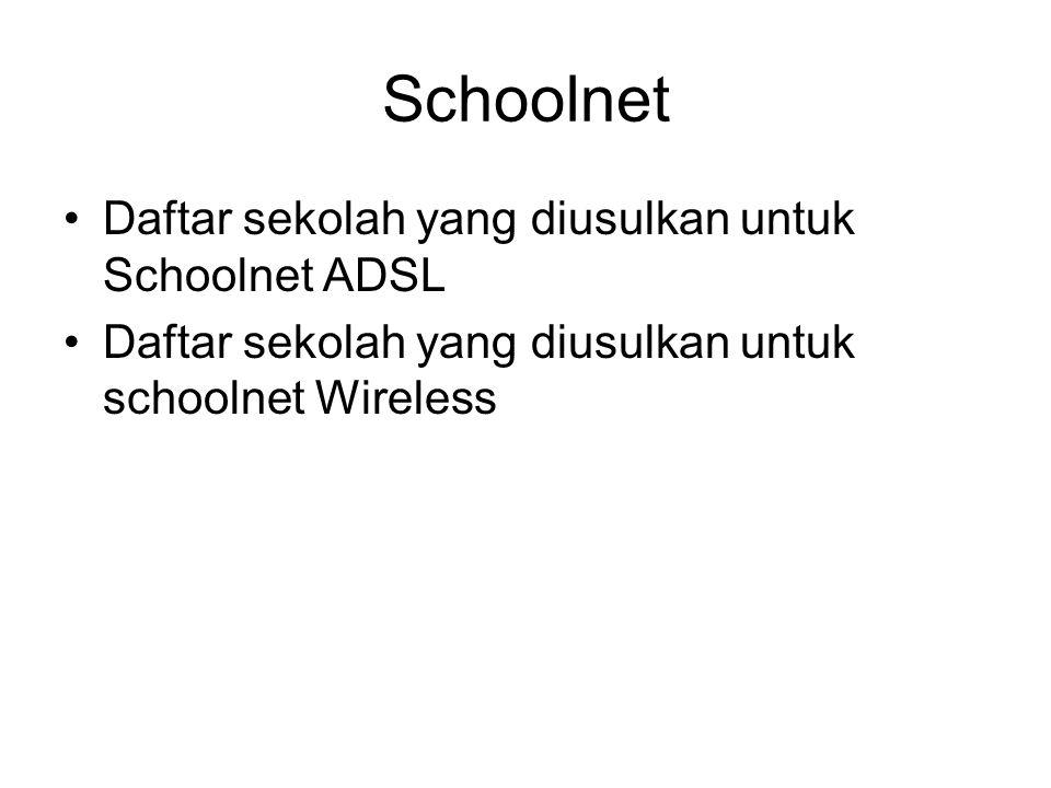 Schoolnet Daftar sekolah yang diusulkan untuk Schoolnet ADSL Daftar sekolah yang diusulkan untuk schoolnet Wireless