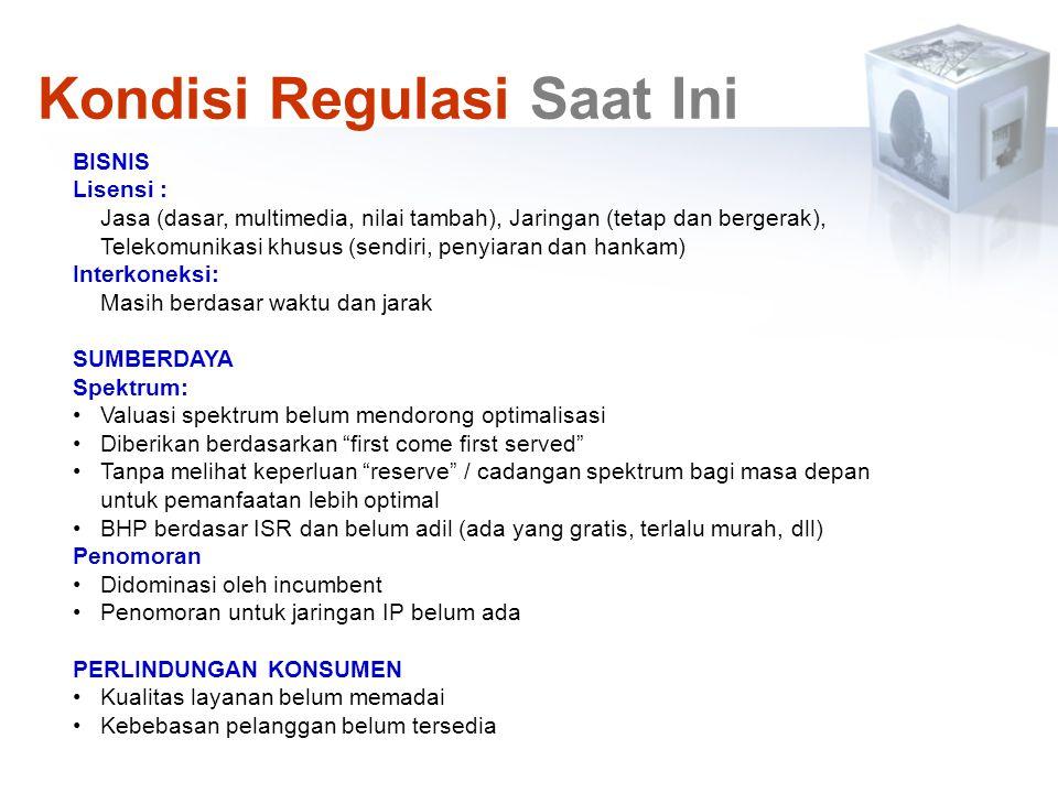 BISNIS Lisensi : Jasa (dasar, multimedia, nilai tambah), Jaringan (tetap dan bergerak), Telekomunikasi khusus (sendiri, penyiaran dan hankam) Interkon
