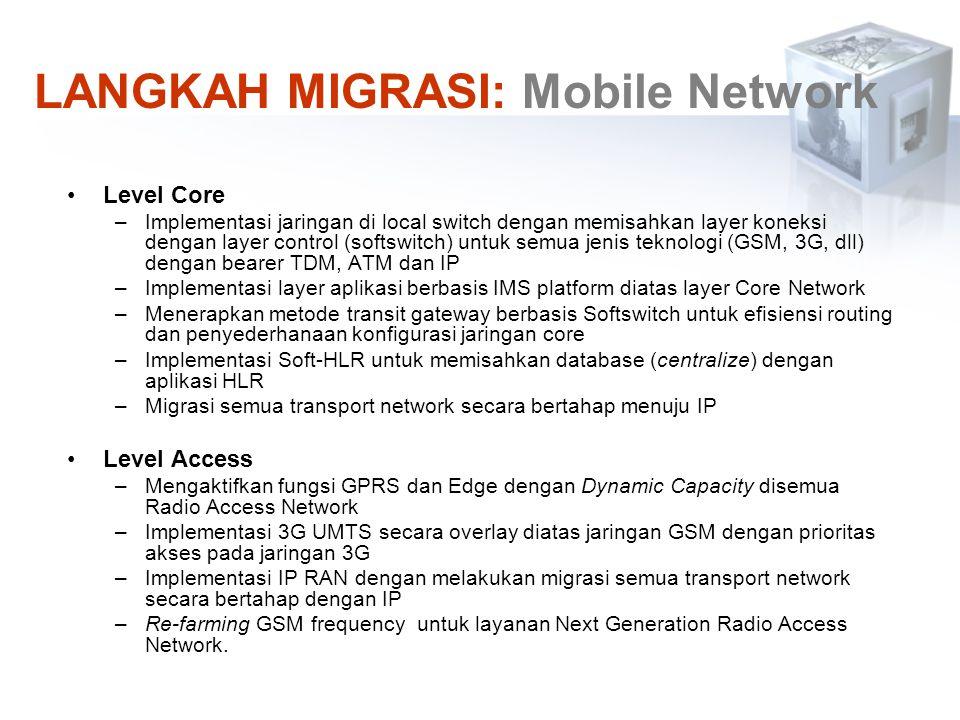 Level Core –Implementasi jaringan di local switch dengan memisahkan layer koneksi dengan layer control (softswitch) untuk semua jenis teknologi (GSM,