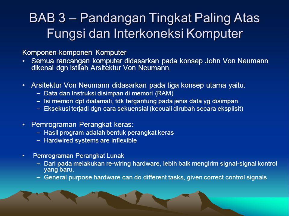 BAB 3 – Pandangan Tingkat Paling Atas Fungsi dan Interkoneksi Komputer Komponen-komponen Komputer Semua rancangan komputer didasarkan pada konsep John