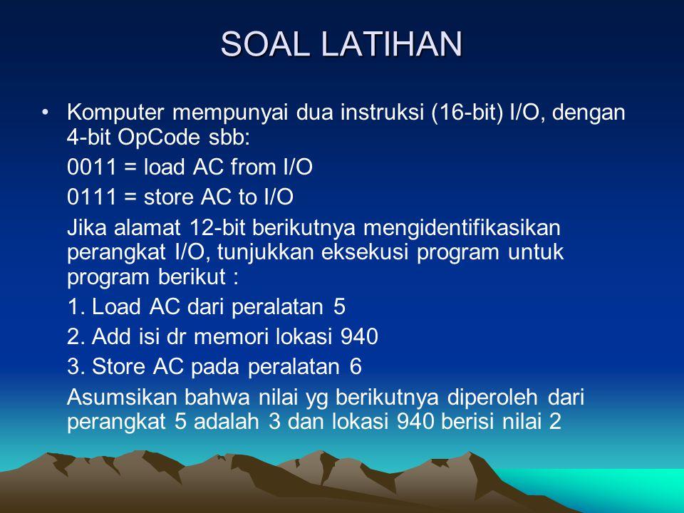 SOAL LATIHAN Komputer mempunyai dua instruksi (16-bit) I/O, dengan 4-bit OpCode sbb: 0011 = load AC from I/O 0111 = store AC to I/O Jika alamat 12-bit