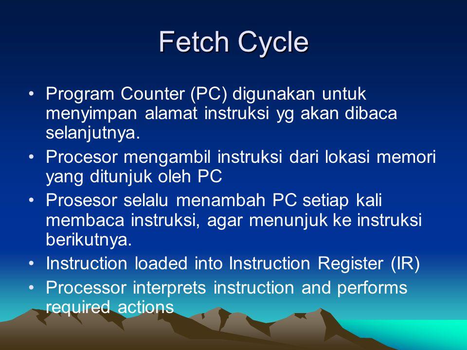 Fetch Cycle Program Counter (PC) digunakan untuk menyimpan alamat instruksi yg akan dibaca selanjutnya. Procesor mengambil instruksi dari lokasi memor