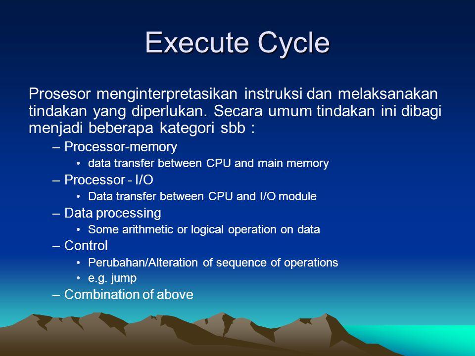Execute Cycle Prosesor menginterpretasikan instruksi dan melaksanakan tindakan yang diperlukan. Secara umum tindakan ini dibagi menjadi beberapa kateg