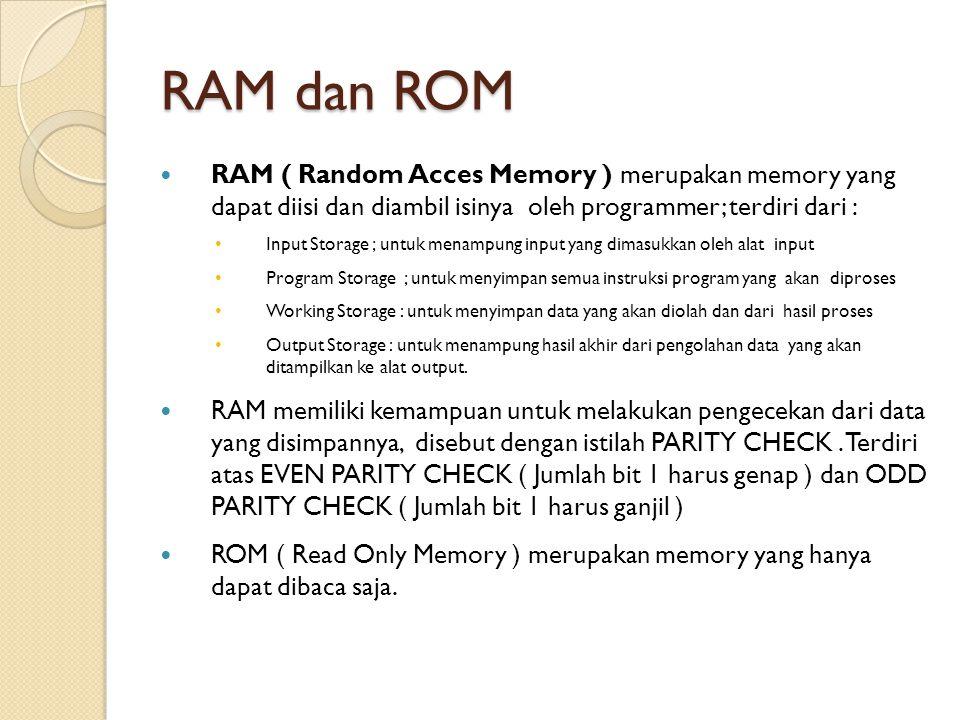 RAM dan ROM RAM ( Random Acces Memory ) merupakan memory yang dapat diisi dan diambil isinya oleh programmer; terdiri dari : Input Storage ; untuk men