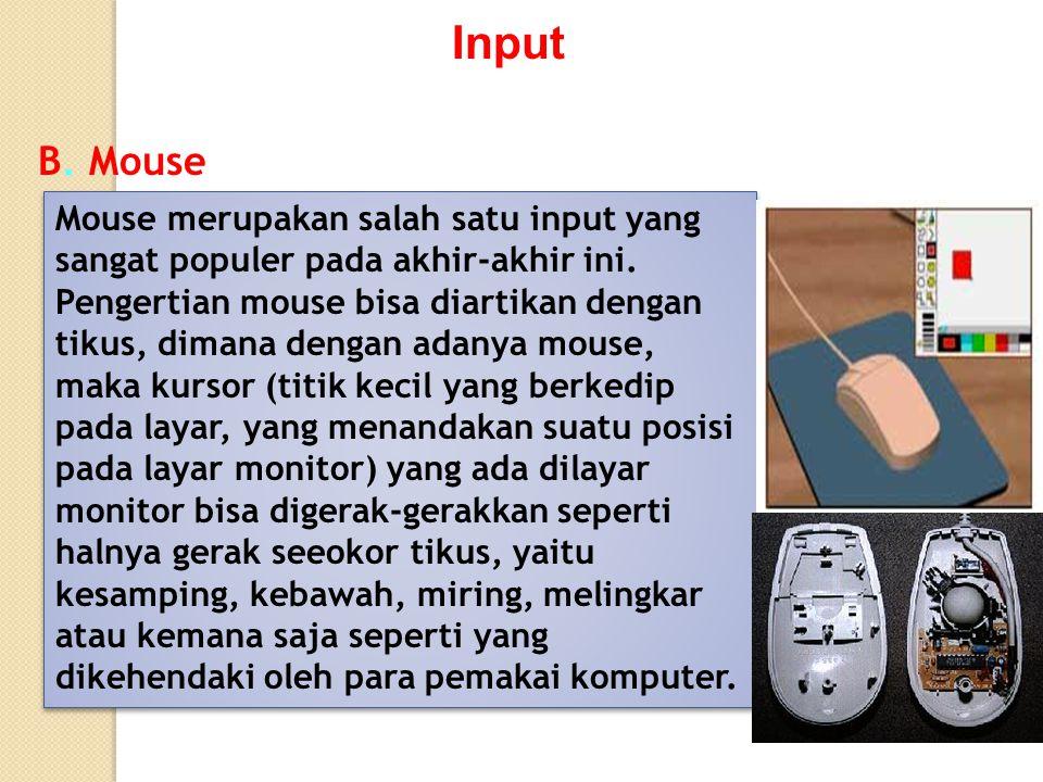 Input B. Mouse Mouse merupakan salah satu input yang sangat populer pada akhir-akhir ini. Pengertian mouse bisa diartikan dengan tikus, dimana dengan