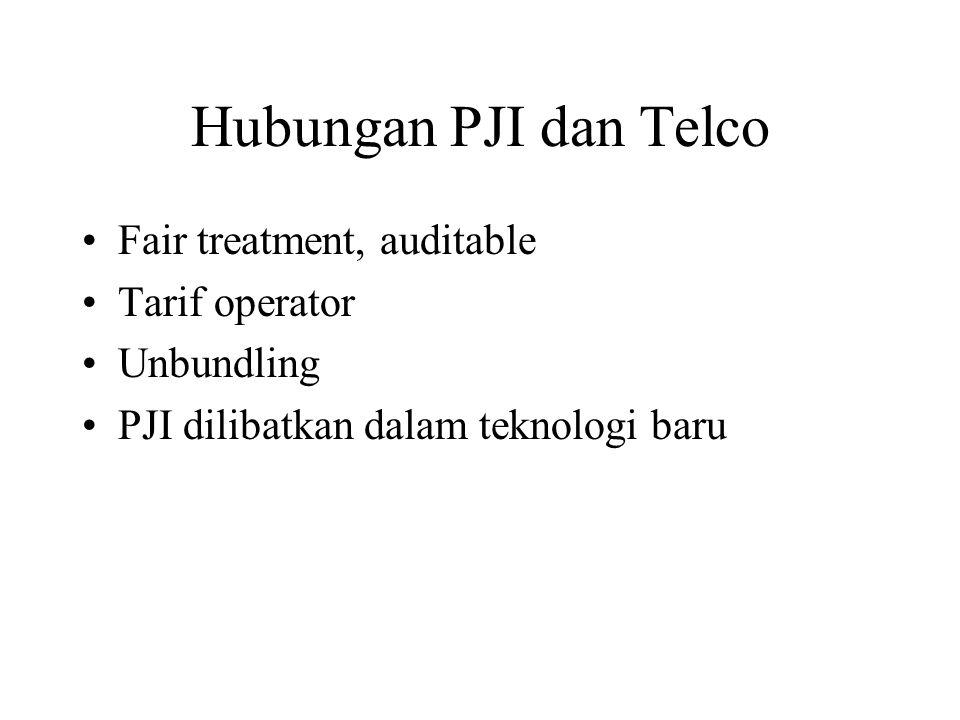 Hubungan PJI dan Telco Fair treatment, auditable Tarif operator Unbundling PJI dilibatkan dalam teknologi baru
