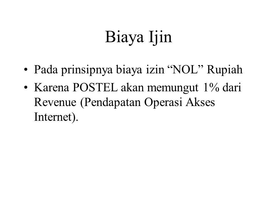 """Biaya Ijin Pada prinsipnya biaya izin """"NOL"""" Rupiah Karena POSTEL akan memungut 1% dari Revenue (Pendapatan Operasi Akses Internet)."""