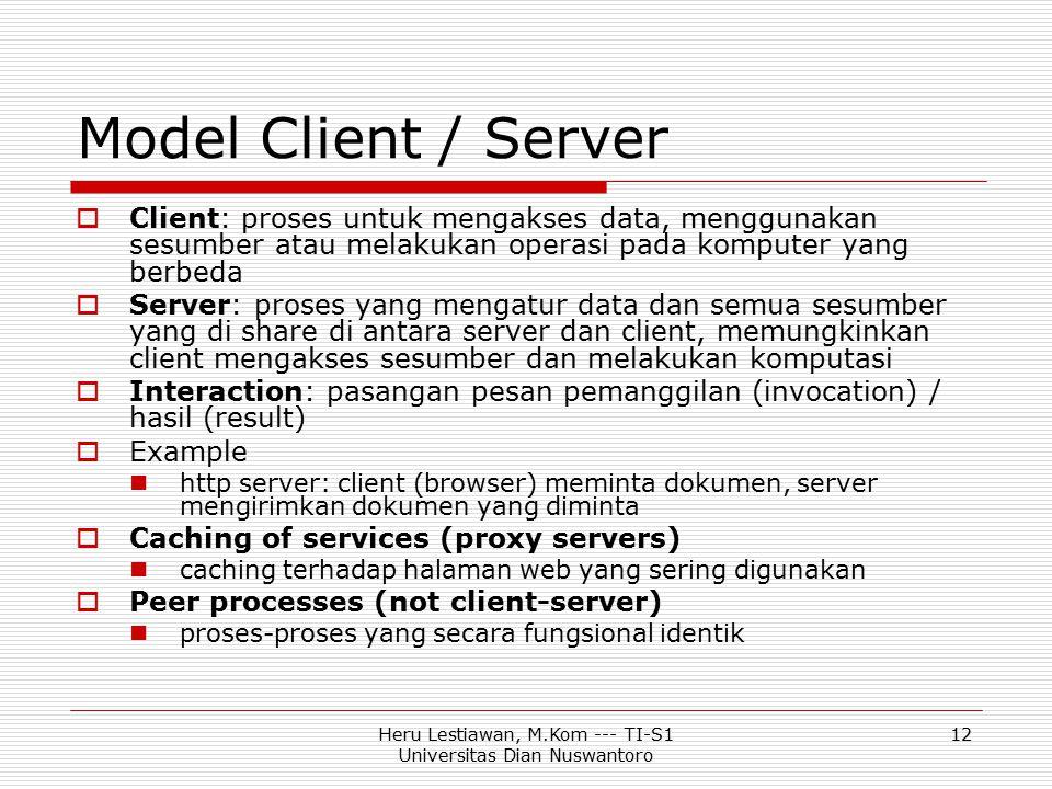 Heru Lestiawan, M.Kom --- TI-S1 Universitas Dian Nuswantoro 12 Model Client / Server  Client: proses untuk mengakses data, menggunakan sesumber atau