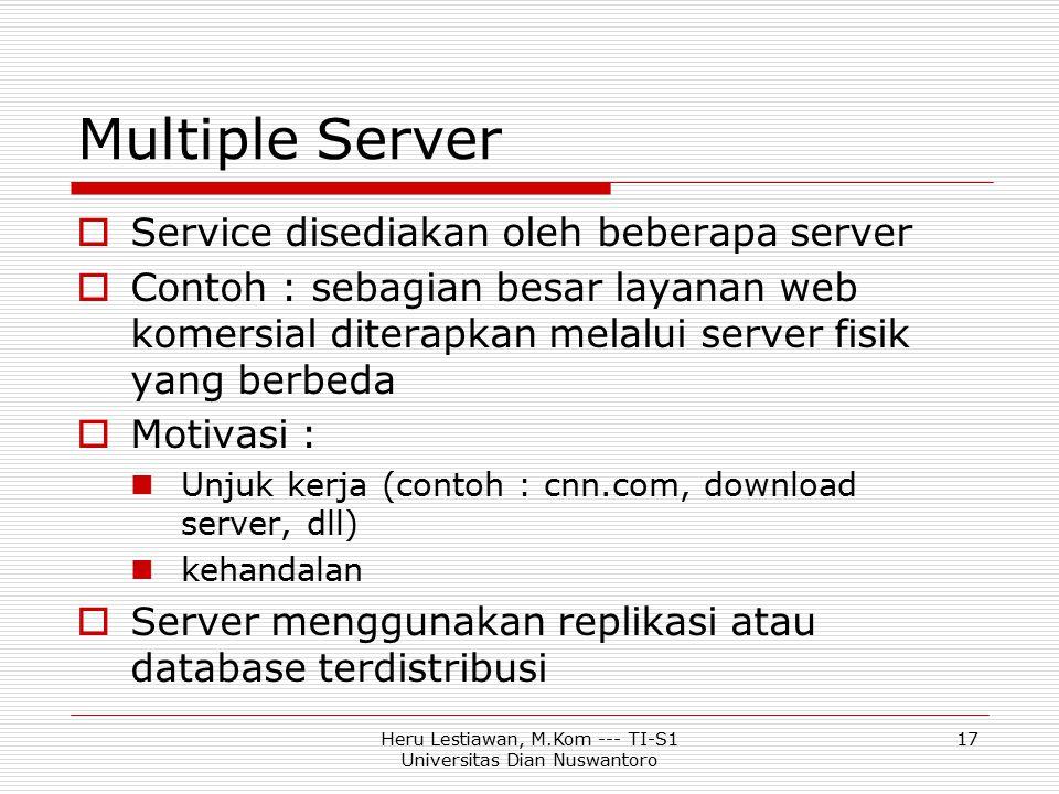 Heru Lestiawan, M.Kom --- TI-S1 Universitas Dian Nuswantoro 17 Multiple Server  Service disediakan oleh beberapa server  Contoh : sebagian besar lay