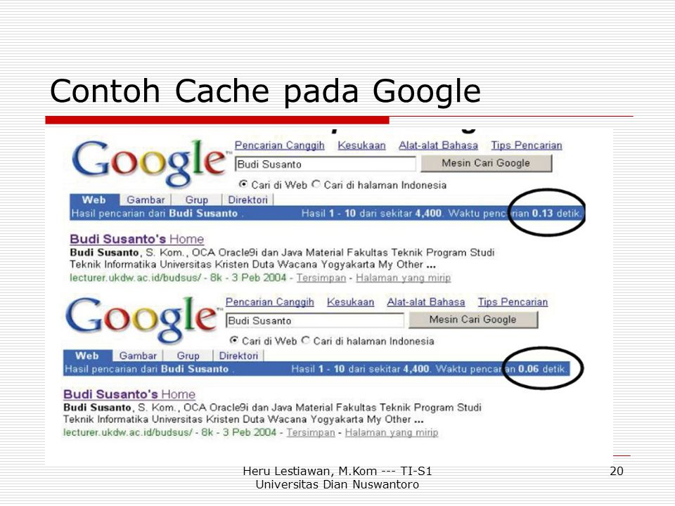 Heru Lestiawan, M.Kom --- TI-S1 Universitas Dian Nuswantoro 20 Contoh Cache pada Google
