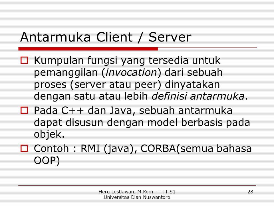 Heru Lestiawan, M.Kom --- TI-S1 Universitas Dian Nuswantoro 28 Antarmuka Client / Server  Kumpulan fungsi yang tersedia untuk pemanggilan (invocation