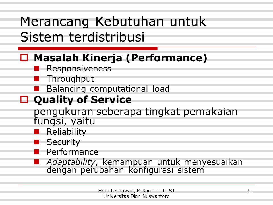 Heru Lestiawan, M.Kom --- TI-S1 Universitas Dian Nuswantoro 31 Merancang Kebutuhan untuk Sistem terdistribusi  Masalah Kinerja (Performance) Responsi