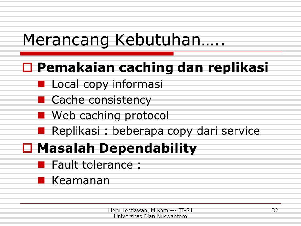 Heru Lestiawan, M.Kom --- TI-S1 Universitas Dian Nuswantoro 32 Merancang Kebutuhan…..  Pemakaian caching dan replikasi Local copy informasi Cache con