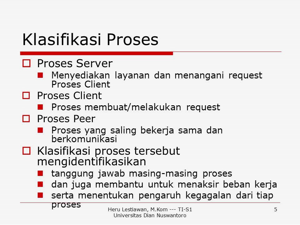 Heru Lestiawan, M.Kom --- TI-S1 Universitas Dian Nuswantoro 5 Klasifikasi Proses  Proses Server Menyediakan layanan dan menangani request Proses Clie