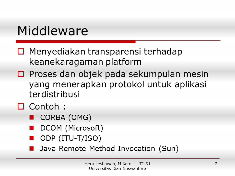 Heru Lestiawan, M.Kom --- TI-S1 Universitas Dian Nuswantoro 7 Middleware  Menyediakan transparensi terhadap keanekaragaman platform  Proses dan obje