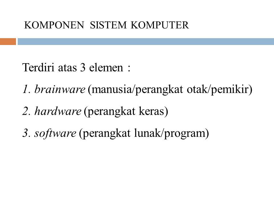Terdiri atas 3 elemen : 1. brainware (manusia/perangkat otak/pemikir) 2. hardware (perangkat keras) 3. software (perangkat lunak/program) KOMPONEN SIS
