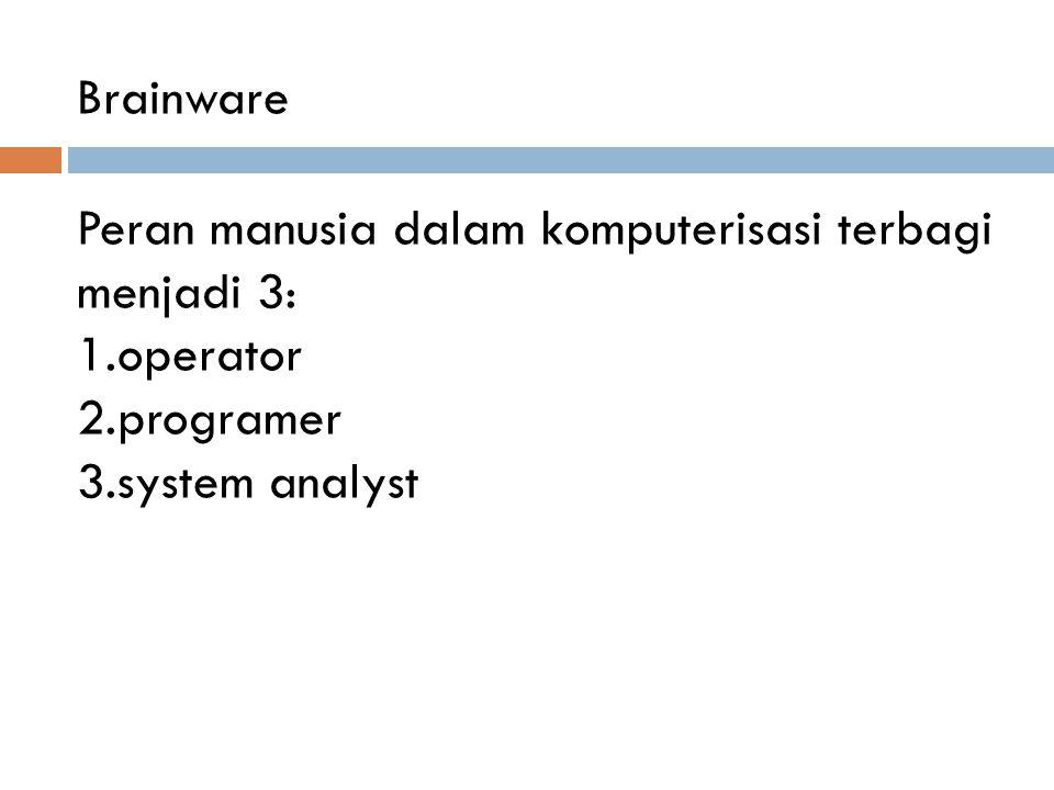Peran manusia dalam komputerisasi terbagi menjadi 3: 1.operator 2.programer 3.system analyst Brainware