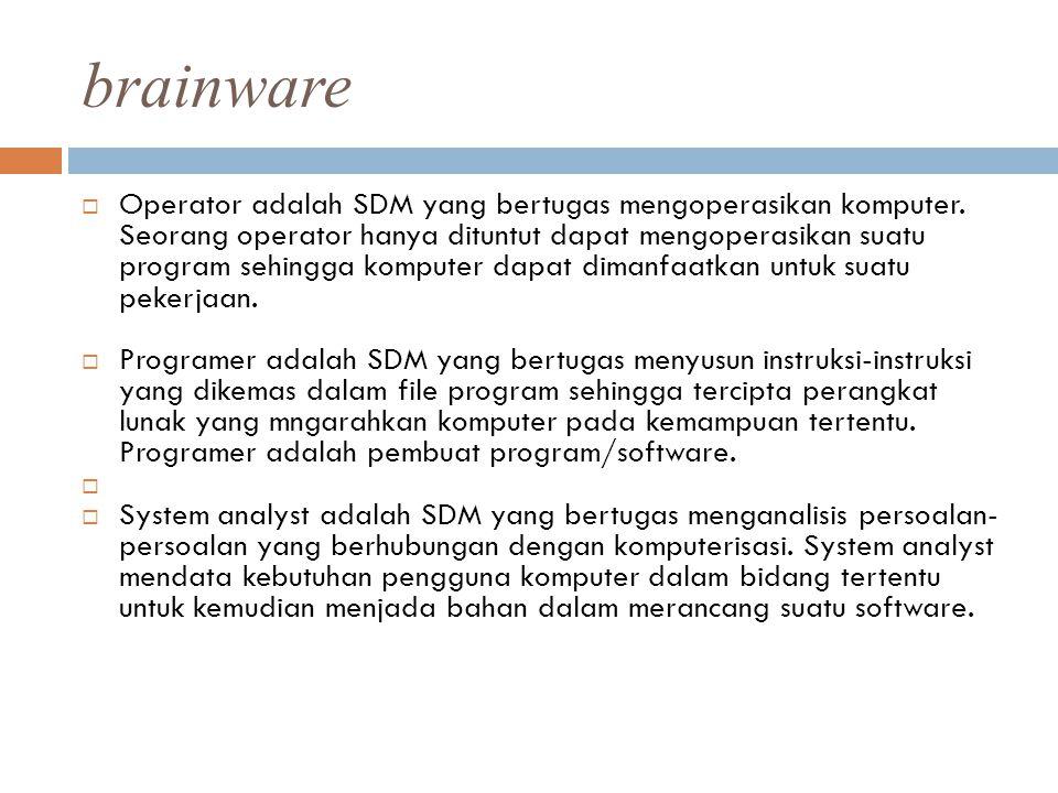 brainware  Operator adalah SDM yang bertugas mengoperasikan komputer. Seorang operator hanya dituntut dapat mengoperasikan suatu program sehingga kom